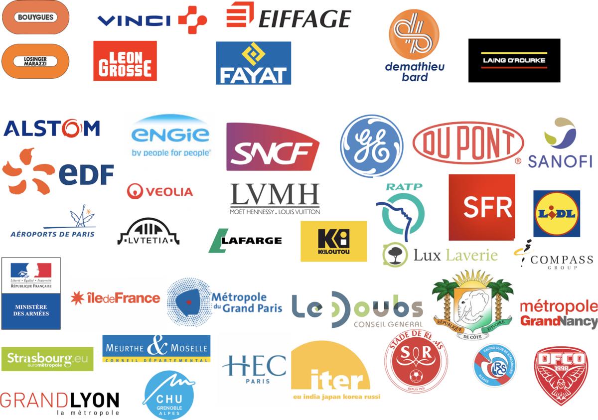 Logo des clients de Jipé, tel que Eiffage, SNCF, SFR, Lidl, Sanofi, Edf, Vinci, etc.